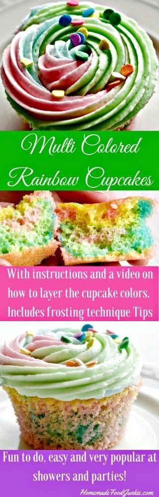 These adorable multi colored rainbow cupcakes are delicious, super cute and easy to make! Colorful and fun, they are sure to be a hit at any gathering.
