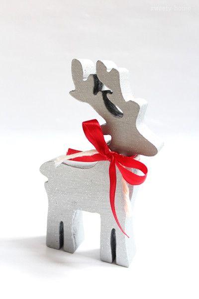 Ozdoba świąteczna RENIFER RETRO Boże Narodzen 15cm - sweety-home - Dekoracje: drewno