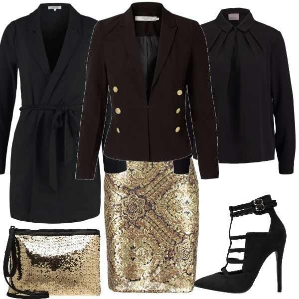 Ecco una proposta con dettagli oro per un outfit per Capodanno: minigonna oro, camicia nera con pieghe al collo, blazer nero con bottoni dorati, cappottino nero con cintura a vita, pochette dorata e tacco alto nero.