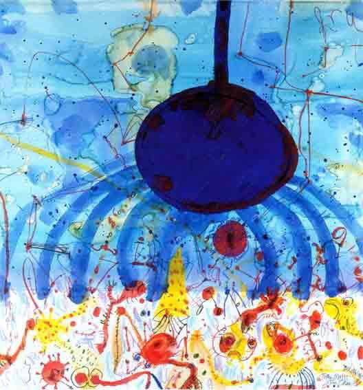 John Olsen (1928-)  Fruitta Misto del Mare 1991   99.5 x 95.5 cm  gouache, pastel, watercolour and crayon