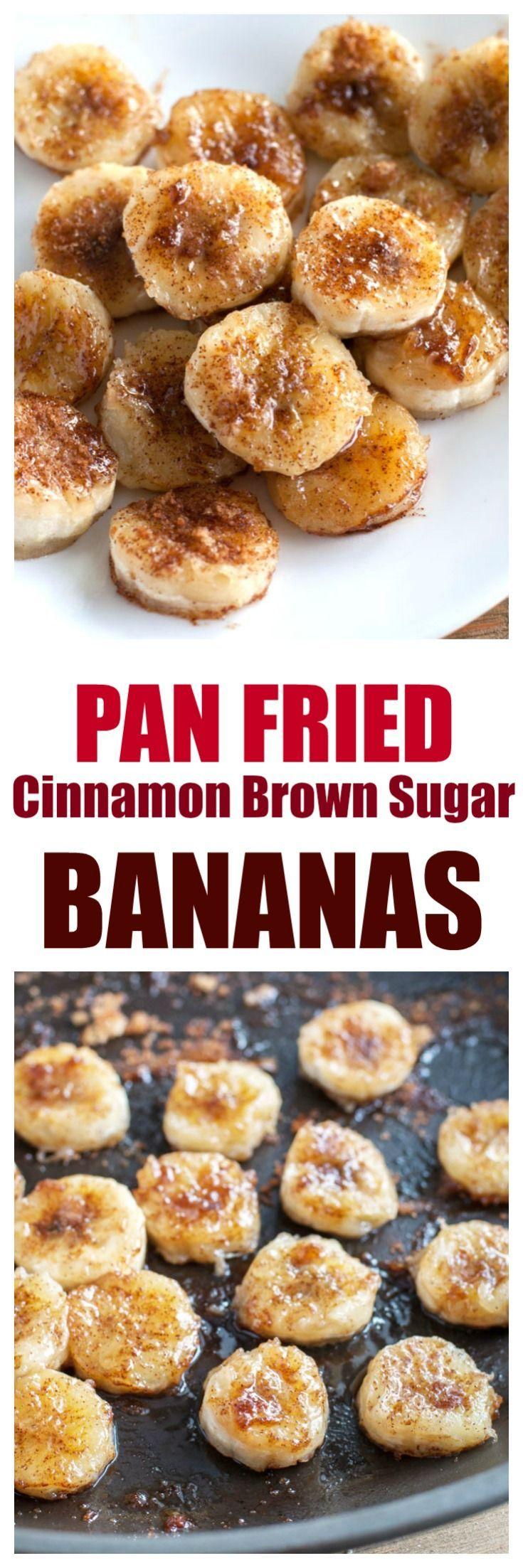 Fried Bananas are a sweet and simple treat made with ripe bananas, cinnamon and brown sugar. #bananas #friedbananas #easydessert #dessert