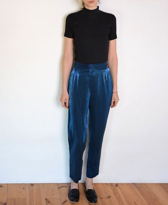 90's blue taffeta pants shiny high waisted by WoodhouseStudios