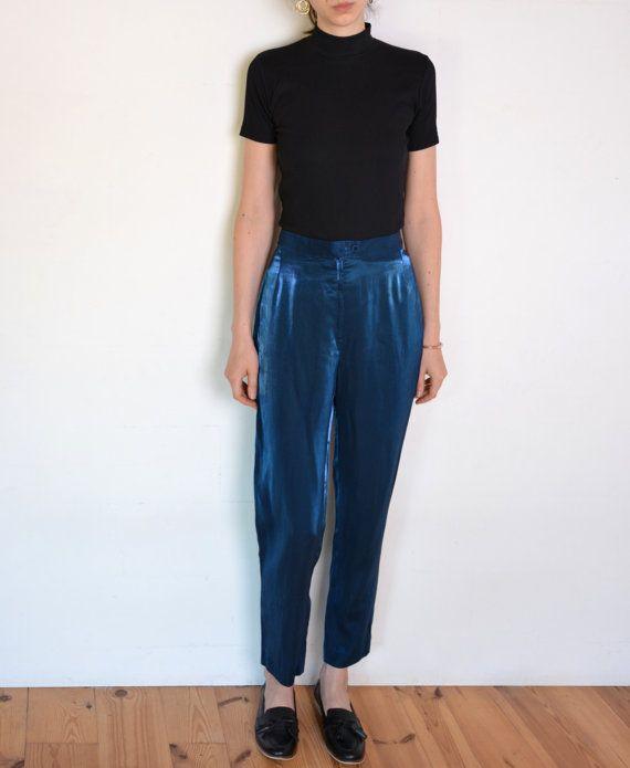 90's blue taffeta pants shiny high waisted by WoodhouseStudios