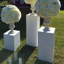 Trio Of Urns Outside Wedding Light White