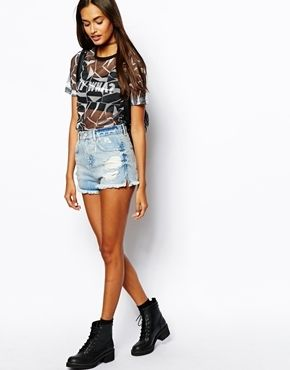$53, Asos High Waist Denim Shorts With Side Split And Rips In Light Blue Wash Blue. Sold by Asos. Click for more info: https://lookastic.com/women/shop_items/87234/redirect