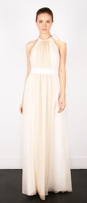 Perfect for an Elegantly Calm type #wedding, this beautiful color-blocked crinkle chiffon #gown has a whimsical, modern feel to it.  Eleanor Gown by Thread http://bridal.threaddesign.com/collections/pages/i849_94.php  Photo Credit: Thread http://bridal.threaddesign.com/
