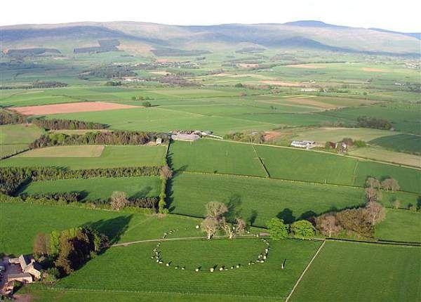 Long Meg & Her Daughters Stone Circle. Aerial photo by Simon Ledingham
