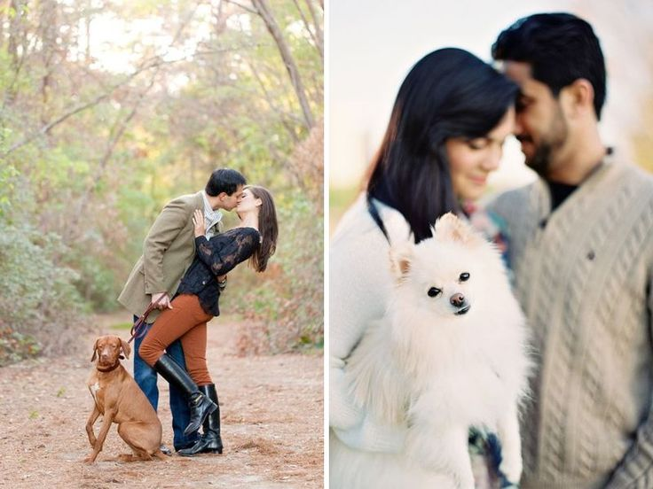Bring in Your Puppy! - 40 Best Engagement Photo Ideas - EverAfterGuide
