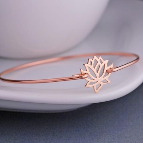 Rose Gold Open Lotus Bracelet, Gift for Yogi, Yoga Jewelry, Rose Gold Bangle Bracelet