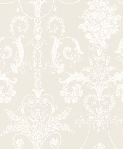 Josette Sable (3568674) - Laura Ashley Wallpapers - An ornate and elegant damask, featuring glamorous chandeliers and romantic rose bouquets in the stylish combination of white and dark cream. Other colour ways available. Please request a sample for true colour match.