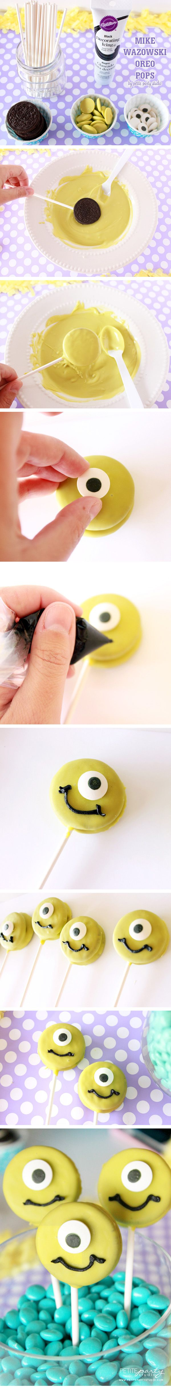 Mike Wazowski Oreo Pop DIY #monstersinc #monstersuniversity #oreopops