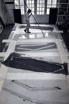Kenneth Noland 1924-2010 –One of the kings of the postwar Color Field School of Painting.  the artist at work.