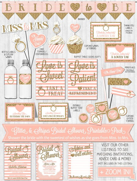 INSTANT DOWNLOAD Bridal Shower Decor Gold Glitter and Blush Stripes by…