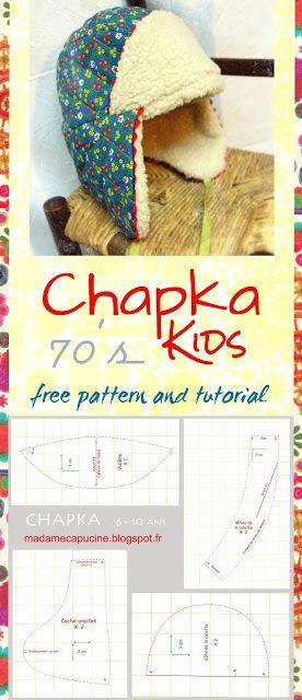 DIY vintage, année 70, Tutoriel et patron gratuit Chapka enfant 6 - 10 ans. Couture facile. Patron encyclopédie les doigts d'or - CHAPKA KIDS, free pattern and tutorial