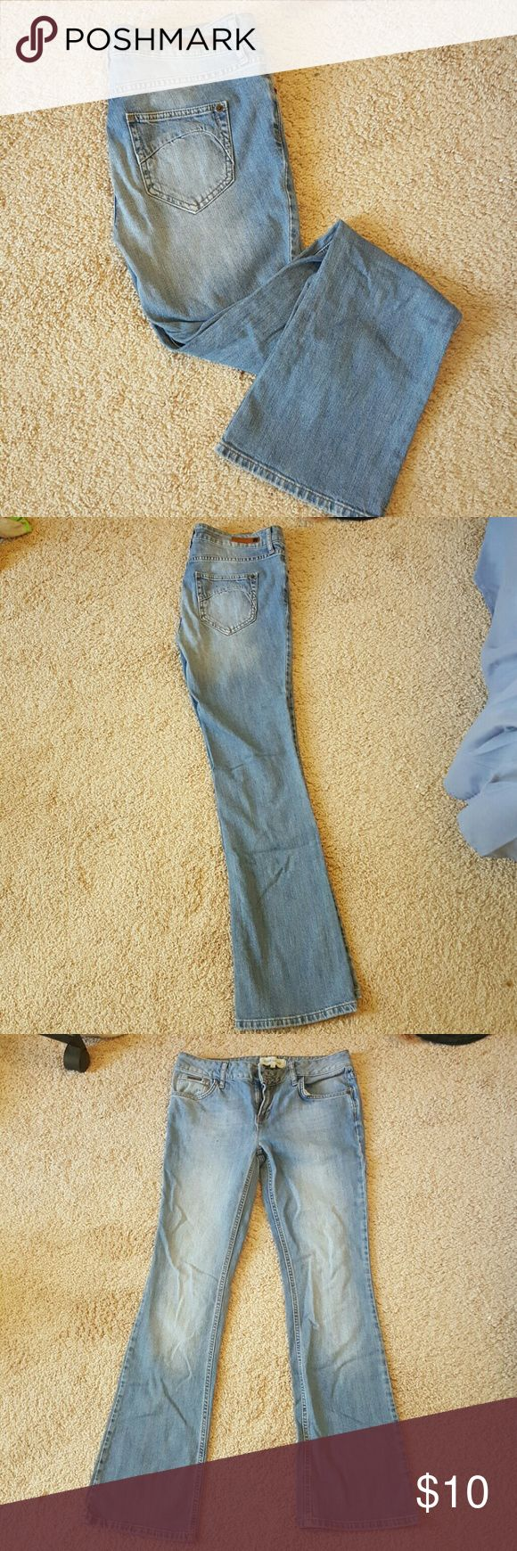 Boot cut jeans from River Island A medium colour blue (almost light colour) , with a subtle white patches in the middle. Size 38 European. Will be ironed before shipping. River Island Jeans Boot Cut