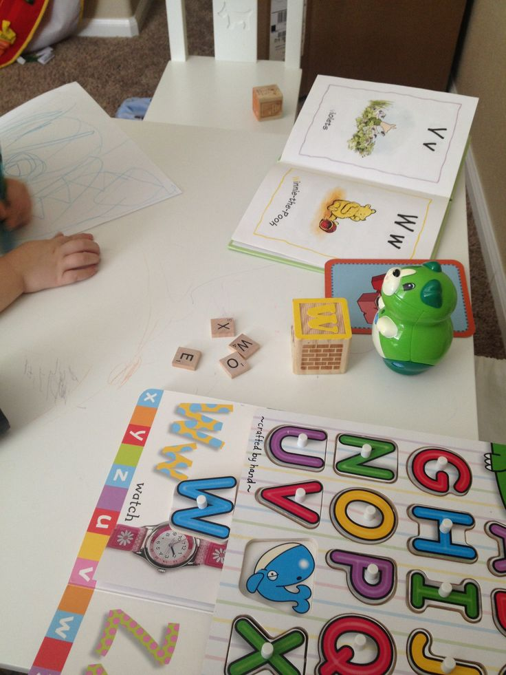 LETTERS/PHONICS:  Teaching the letter W example: - find letter and corresponding picture in books - Leapfrog letter cards - letter block with pictures (Grananimals) - find letter in Scrabble tiles - letter puzzle - practice writing letter - (not pictured) find toys - like walrus