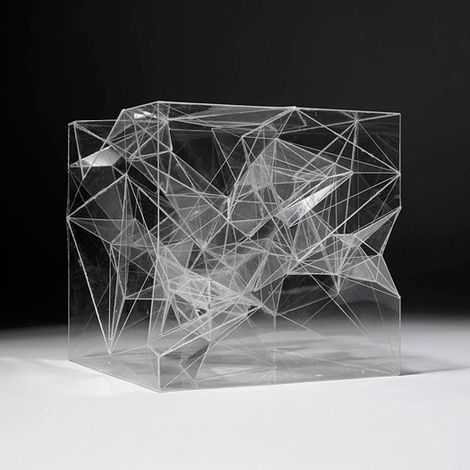 Who: sou fujimoto What else: Inside Outside Tree V museum in london. The structure is made from sheets of clear acrylic which have been cut into variously shaped polygons and bound together using zip ties.