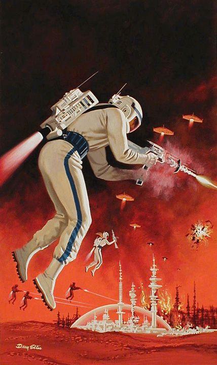 "70sscifiart:  "" Dean Ellis  ""  My Blogs:  Beautiful Warbirds  Full Afterburner  The Test Pilots  P-38 Lightning  Nasa History  Science Fiction World  Fantasy Literature & Art"