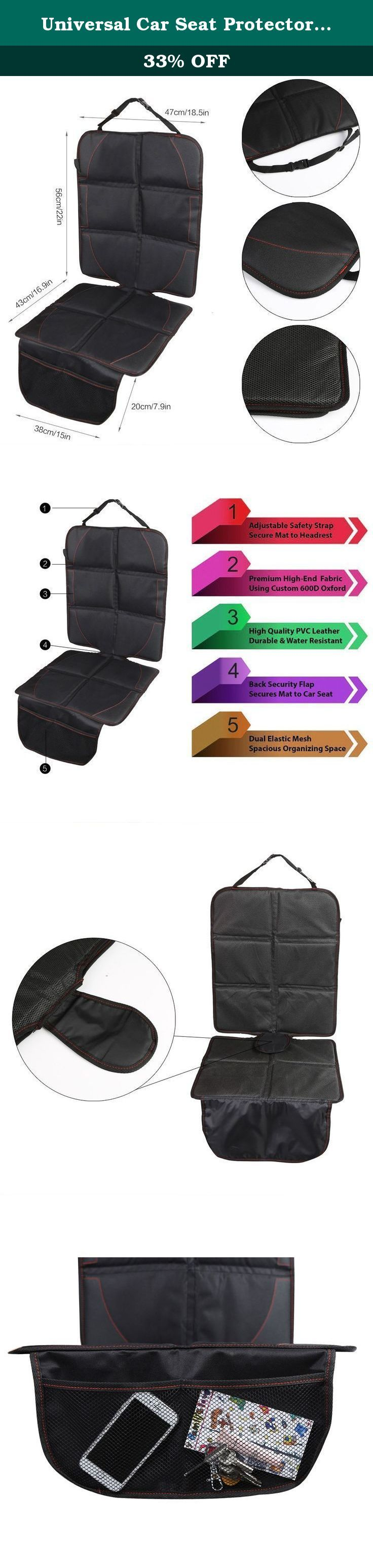 Universal Car Seat Protector Anti Slip Wear-resisting Cover Children Long Car Seat Mat with Storage Bag Black. Features: Quality thick material mixed with foam interlayer, relieves pressure of baby safety seat for car seat Comes with storage bag, convenient for water bottle, cup, cell phone, tissue, etc. Enhanced sitting comfort to protect your car seat and also play a decorative role Easy installation, wear-resisting, waterproof and easy cleaning General car seat mat fits any season...