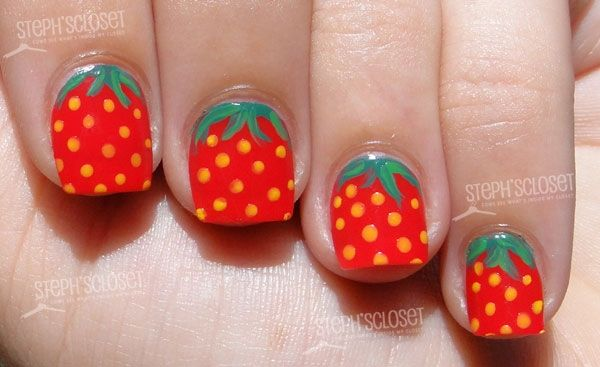 19 Interesting Fruit Nail Designs.   @Lauren Davison McConnell THERES PINEAPPLES ON THERE!!!!!