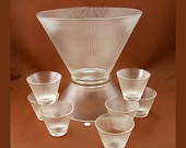 Mid Century Modern Norse Punch Set Bowl Base Cups Federal Glass Vtg