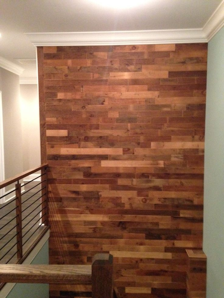 Reclaimed Wood DIY Project On Feature Wall Going Up The Stairs.