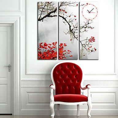 現代アートなモダン キャンバスアート 絵 壁 壁掛け 時計 壁時計 紅葉 影 赤い山 カエデ もみじ 植物【納期】お取り寄せ2~3週間前後で発送予定【送料無料】ポイント