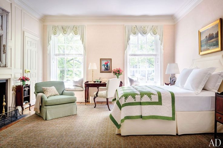A traditional bedroom in the Colonial home, The Lindens, in Washington D.C.