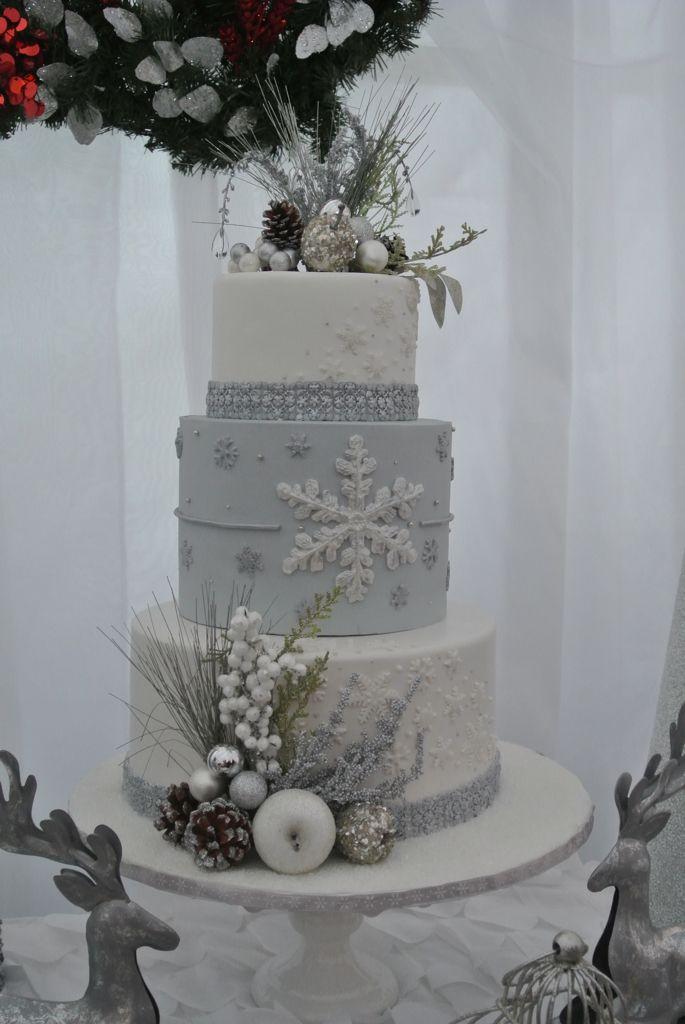 Winter wonderland cake. Frozen cake. Snowflake cake. Wedding cake.                                                                                                                                                                                 More