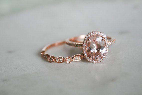 Ovale Morganite diamant bague de fiançailles par OliveAvenueJewelry