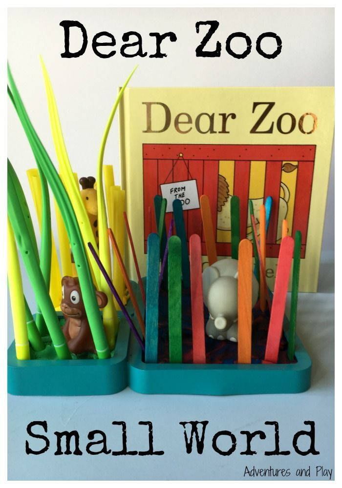 Dear Zoo Small World  To celebrate the 35th anniversary of Dear Zoo by Rod Campbell, I set up an invitation to make a zoo small world. Using playdough and a variety of sticks my son made a simple zoo.
