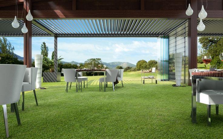 Pergola bioclimatique en alu- la toiture terrasse géniale par Biossun!