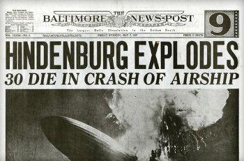 CRASH OF THE HINDENBURG ~ on May 6, 1937, at Lakehurst, New Jersey.