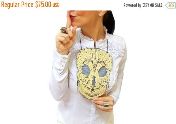 ON SALE Golden Lace Skull Necklace Halloween Tops Skull