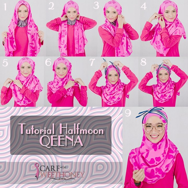 Appear lovely with hints of floral, http://www.scarfsweethoney.com/2012/12/shawl-halfmoon-qeena.html