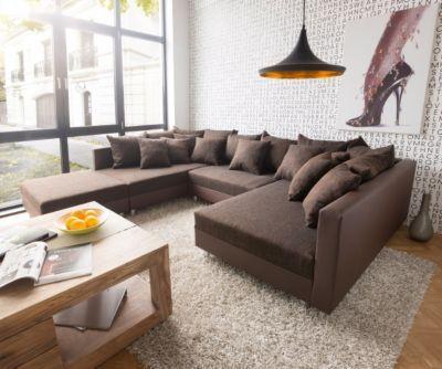 Couch Clovis Dunkelbraun Strukturstoff Mit Hocker Wohnlandschaft Jetzt Bestellen Unter Moebelladendirektde Wohnzimmer Sofas Wohnlandschaften Uid