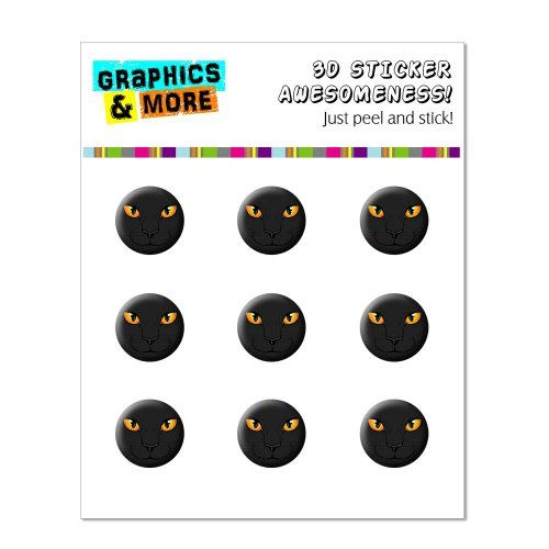 Graphics and More Black Cat Face - Pet Kitty Halloween Home Button Stickers Fits Apple iPhone 4/4S/5/5C/5S, iPad, iPod Touch - Non-Retail Packaging - Clear
