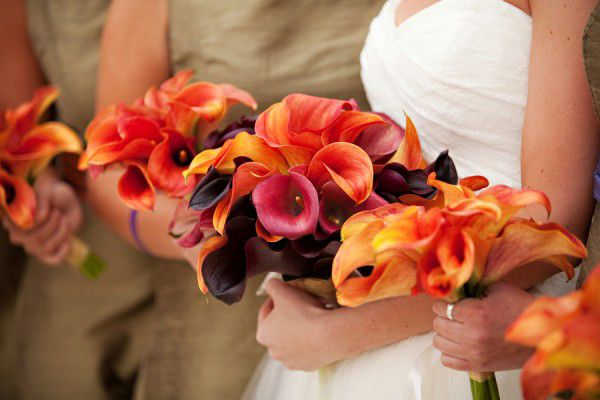 orange calla lilly bouquets