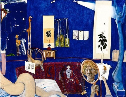 Self portrait in the studio, (1976) by Brett Whiteley :: The Collection :: Art Gallery NSW