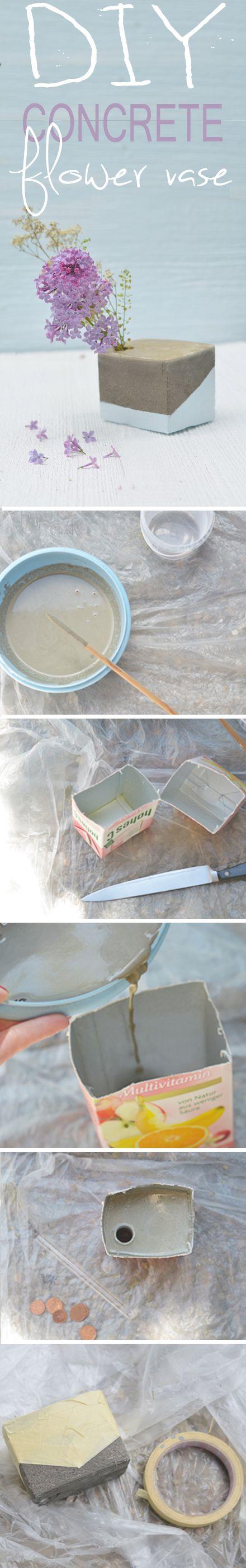 Eine Kurzanleitung / Tutorial wie ihr aus einem Tetrapack, einem Reagenzglas und Beton eine schicke und dekorative Blumenvase herstellt. // DIY concrete project // flower vase // concrete do it yourself >> http://www.bonnyundkleid.com/2015/05/do-it-yourself-blumenvase-aus-beton.html