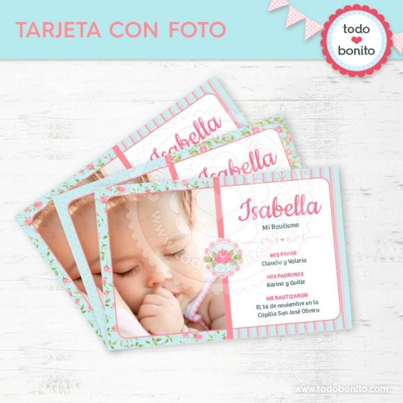 Shabby Chic aqua+rosa: tarjeta con foto