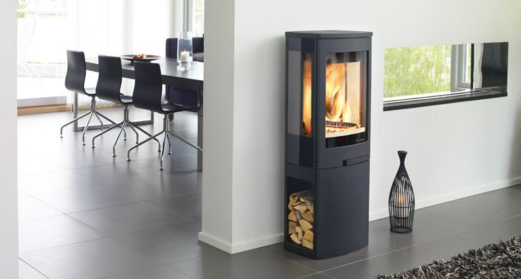 Duo 2 - modern Scandinavian stove with wood storage