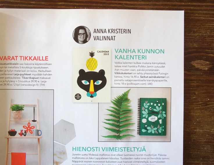 New calendars featured in Koti ja keittiö 10/2014.
