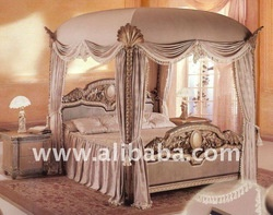 European Luxury Canopy king size home bed,solid wood, hand carved