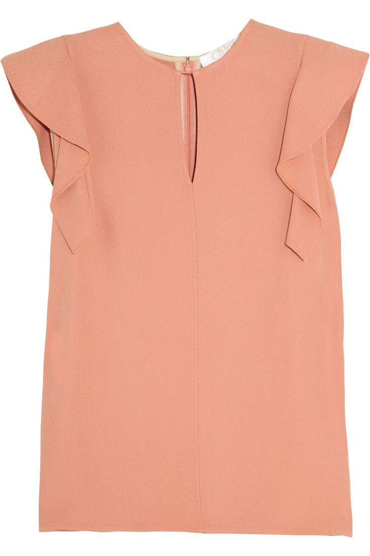 Chloé|Ruffled crepe top. I love peach. This is prefect for work or a nice event.