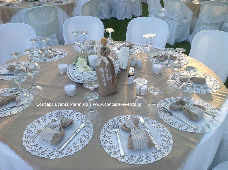 Rustic wedding table decor by Concept Events Planning | www.concept-events.gr Good idea of setting the tables without the plates, cuz it will be Buffett style-S