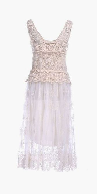 Off-White Floral Crochet Long Semi-Sheer Dress