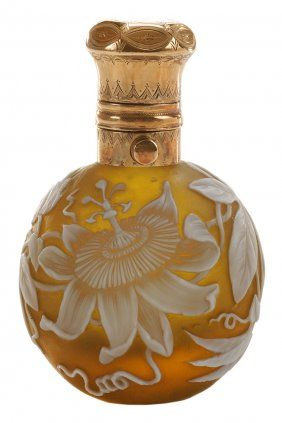 Extremely Rare Thomas Webb & Sons/ Cameo Glass Perfume Bottle English, ca 1890/ 14 kt. gold (test) mount delicately engraved / Sold $3,200