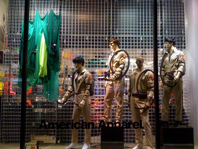 Ghostbusters costumes display on the window of one of our
