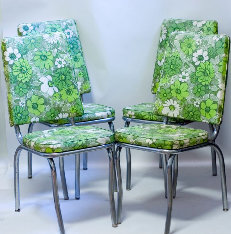 Mid Century Chrome Kitchen Chairs 1960s Green Floral Vinyl